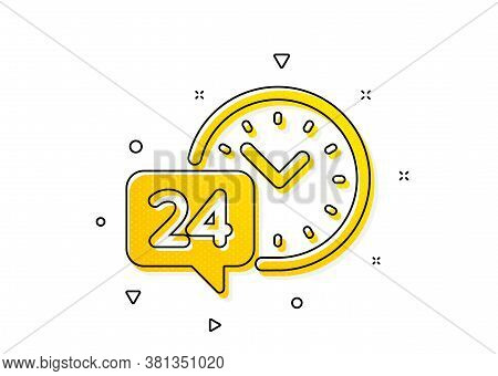 Call Support Sign. 24 Hour Time Service Icon. Feedback Chat Symbol. Yellow Circles Pattern. Classic