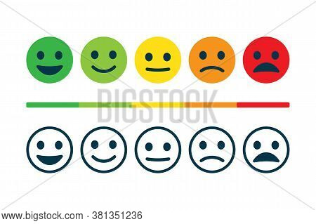 Rating Satisfaction. Feedback In Form Of Emotions. User Experience. Review Of Consumer. Excellent, G
