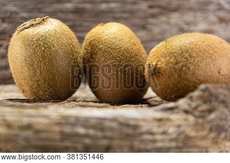 Kiwi Fruits (actinidia Delicious). Kiwi Is A Delicious Fruit Originally From China, But Only Became