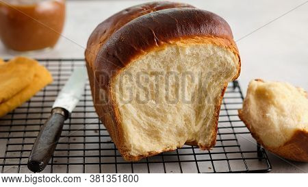 Japanese Brioche, Japanese Milk Bread. Homemade Baking. Fresh Homemade Crisp Bread. Copy Space, Sele