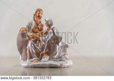 Image Of Catholic Saints Where Mary Jesus And Joseph Appear On A Light Background
