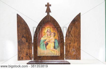 Image Of Catholic Saint Of Mother Queen Of Schoensatt In Wooden Chapel