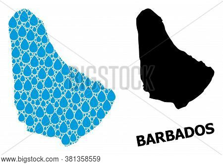 Vector Mosaic And Solid Map Of Barbados. Map Of Barbados Vector Mosaic For Drinking Water Ads. Map O