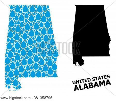 Vector Mosaic And Solid Map Of Alabama State. Map Of Alabama State Vector Mosaic For Drinking Water