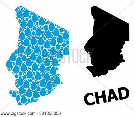 Vector Mosaic And Solid Map Of Chad. Map Of Chad Vector Mosaic For Drinking Water Ads. Map Of Chad I