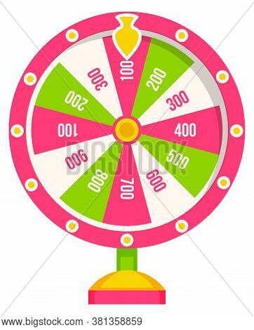 Wheel Of Fortune With Winning Numbers And Sector Bankrupt And Bonus, Flat Style Illustration. Game F