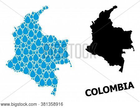 Vector Mosaic And Solid Map Of Colombia. Map Of Colombia Vector Mosaic For Drinking Water Ads. Map O