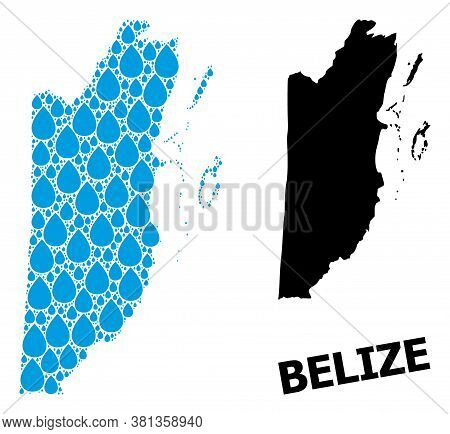 Vector Mosaic And Solid Map Of Belize. Map Of Belize Vector Mosaic For Drinking Water Ads. Map Of Be