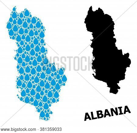 Vector Mosaic And Solid Map Of Albania. Map Of Albania Vector Mosaic For Drinking Water Ads. Map Of