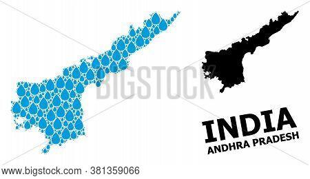 Vector Mosaic And Solid Map Of Andhra Pradesh State. Map Of Andhra Pradesh State Vector Mosaic For P