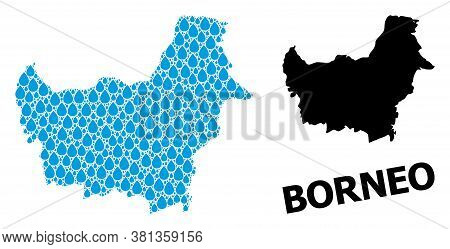 Vector Mosaic And Solid Map Of Borneo Island. Map Of Borneo Island Vector Mosaic For Pure Water Ads.