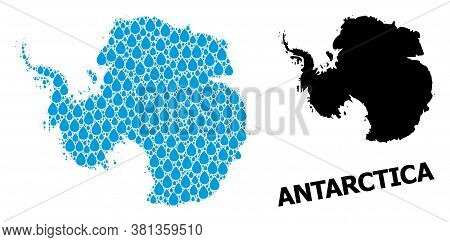 Vector Mosaic And Solid Map Of Antarctica. Map Of Antarctica Vector Mosaic For Drinking Water Ads. M