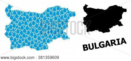 Vector Mosaic And Solid Map Of Bulgaria. Map Of Bulgaria Vector Mosaic For Pure Water Ads. Map Of Bu