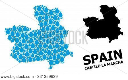 Vector Mosaic And Solid Map Of Castile-la Mancha Province. Map Of Castile-la Mancha Province Vector