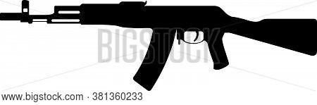Kalashnikov Military Rifle, Icon Self Defence Automatic Weapon Concept Simple Black Vector Illustrat