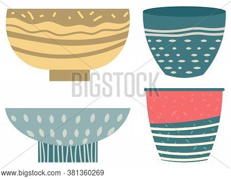 Stack Of Clay Pots Isolated Flat Style Kitchen Utensils. Vector Household Crockery, Terracotta Potte