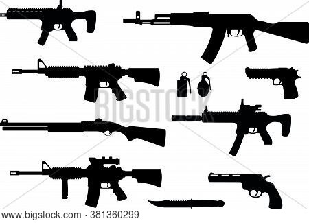 Set Of Weapon Military Rifle, Revolver And Desert Eagle Pistol, Shotgun Carbine, Grenade, Knife And