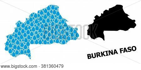 Vector Mosaic And Solid Map Of Burkina Faso. Map Of Burkina Faso Vector Mosaic For Clean Water Ads.