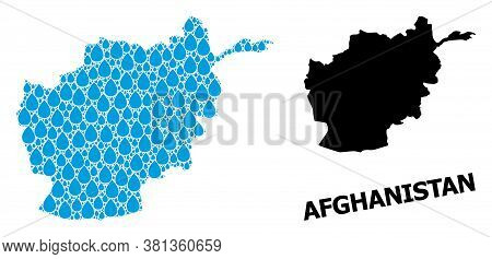 Vector Mosaic And Solid Map Of Afghanistan. Map Of Afghanistan Vector Mosaic For Clean Water Ads. Ma