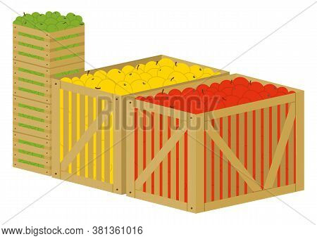 Three Wooden Boxes Full Of Colorful Ripe And Fresh Fruits. Containers With Red, Yellow And Green App