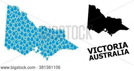 Vector Mosaic And Solid Map Of Australian Victoria. Map Of Australian Victoria Vector Mosaic For Cle
