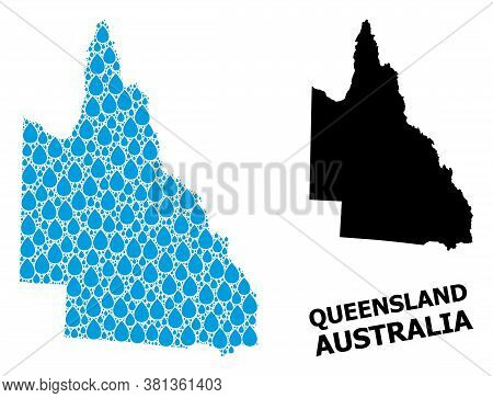 Vector Mosaic And Solid Map Of Australian Queensland. Map Of Australian Queensland Vector Mosaic For
