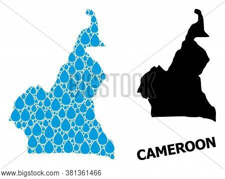 Vector Mosaic And Solid Map Of Cameroon. Map Of Cameroon Vector Mosaic For Clean Water Ads. Map Of C