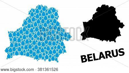Vector Mosaic And Solid Map Of Belarus. Map Of Belarus Vector Mosaic For Drinking Water Ads. Map Of