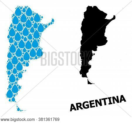 Vector Mosaic And Solid Map Of Argentina. Map Of Argentina Vector Mosaic For Drinking Water Ads. Map
