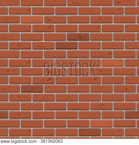 Brick Wall Seamless Pattern. Red Brickwork Background.