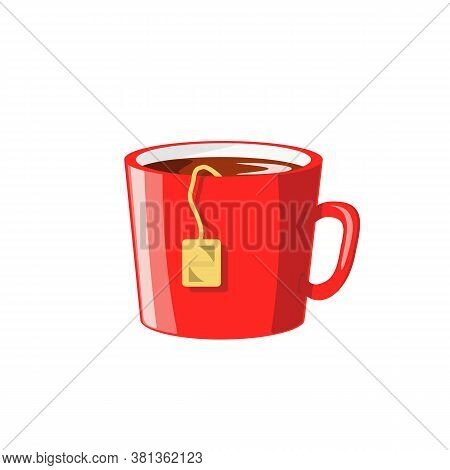 Red Cup With Tea Bag Isolated On A White Background. Simple Flat Illustration. Hot Drink, Warmth Con