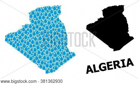 Vector Mosaic And Solid Map Of Algeria. Map Of Algeria Vector Mosaic For Clean Water Ads. Map Of Alg