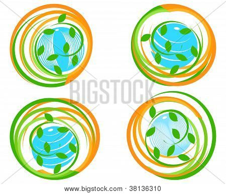 Vector Illustration Of A Set Of A Green Icons With Planet.