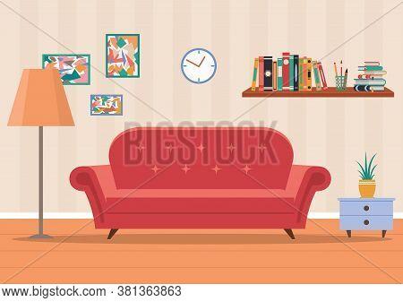 Living Room Interior In Home. Design Of Cozy Room With Sofa, Lamp, Clock, Flower, Books. Flat Illust