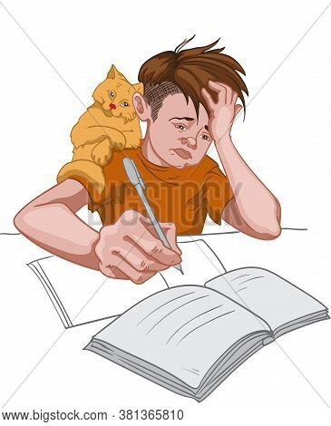 Unhappy Boy In Orange T-shirt Making His Homework While His Cat Sits On His Shoulder. School Routine