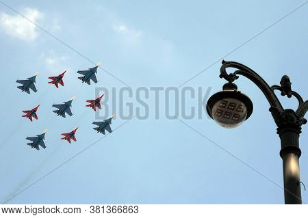 Moscow, Russia - June 20, 2020:the Flight Groups `swifts` And `russian Knights` On Su-30 Sm And Mig-