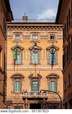 Rome, Italy - April 12: The Senate Of The Republic, The Upper House Of The Parliament Of Italy, Seen