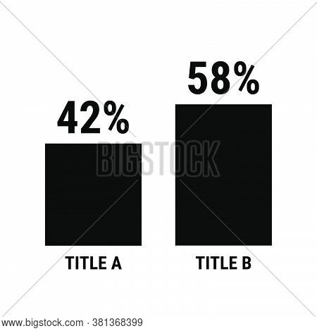 Compare Forty Two And Fifty Eight Percent Bar Chart. 42 And 58 Percentage Comparison. Black Vector G