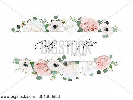 Stylish Ivory White & Blush Peach Wedding Invite, Invitation, Save The Date Card Design. Peony Rose