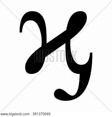 Lowercase Kai Greek Sign On White Background