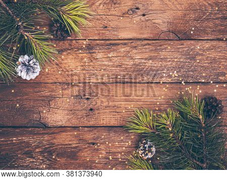 Vintage Christmas Rustic Background. Planked Wood With Christmas Fir Tree And Golden Stars. Space Fo