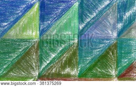 Red, Green, Blue And Brown Wax Crayon With Low Coverage Background, Digitally Created.
