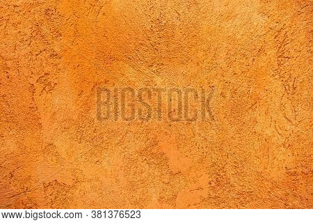 Walls And Background, Old Orange Cement Wall, Yellow Concrete Surface With The Rough And Scratched S