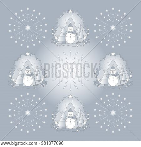 Pattern Christmas Theme. Snowman, Fir Forest, Falling Snow, Star And Snowflake. Luminous Light. Vect
