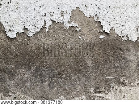 Walls And Backgrounds Old Cement Walls With Black Stains On The Surface Caused By Moisture. Peeling