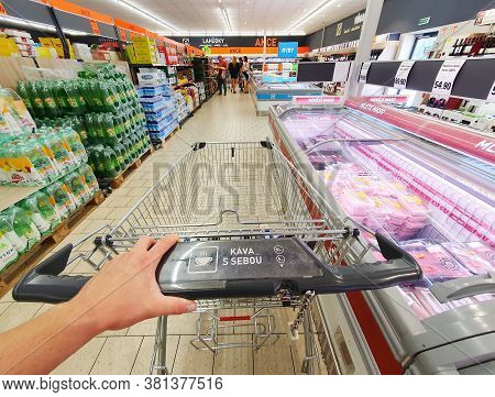 Prague, Czech Republic - August 17, 2020: Shopping In A Lidl Grocery Discount Supermarket. Hand Hold