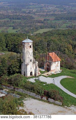 DUGO SELO, CROATIA - OCTOBER 08, 2011: Ruins of the medieval church of St. Martin in Martin Breg, Dugo Selo, Croatia