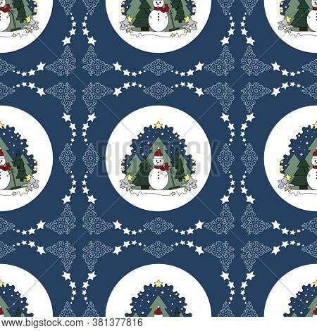 Seamless Pattern Christmas Theme. Snowman And Fir Forest, Falling Snow. Vector Illustration.