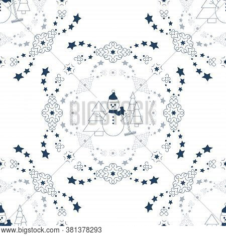 Seamless Pattern Christmas Theme. Snowman, Fir Forest, Falling Snow And Stars. White And Blue. Vecto