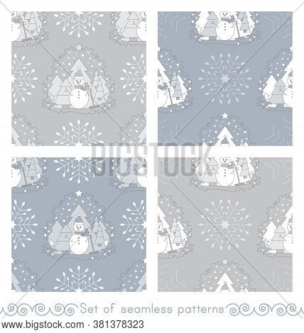 Set Of Seamless Patterns Christmas Theme. Snowman, Fir Forest, Falling Snow, Star And Flake. Vector